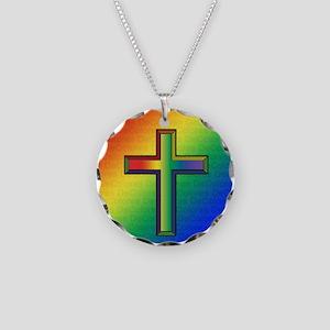 De Colores Cross Necklace Circle Charm