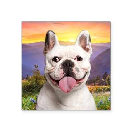 "French Bulldog Meadow Square Sticker 3"" x 3"""