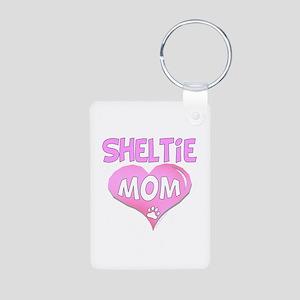 Sheltie Mom Aluminum Photo Keychain