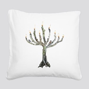 Twig Menorah Chicadees Square Canvas Pillow