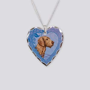 Wirehaired Vizsla Necklace Heart Charm