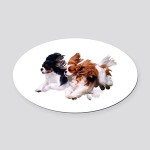 Lily & Rosie, Running Oval Car Magnet