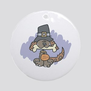 Thanksgiving Day Doggy Ornament (Round)