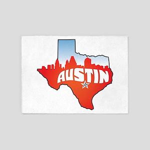 Austin Texas Skyline 5'x7'Area Rug