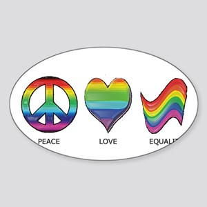 Peace Love Equality Sticker (Oval)