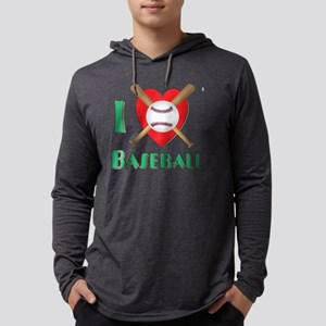 I Love Baseball Mens Hooded Shirt