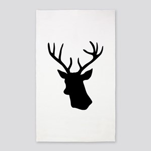 Black stag deer head 3'x5' Area Rug