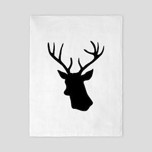 Black stag deer head Twin Duvet