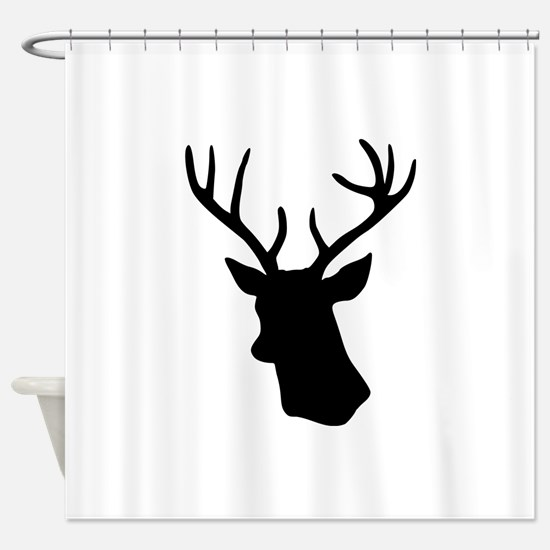 Black stag deer head Shower Curtain