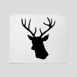 Black stag deer head Throw Blanket