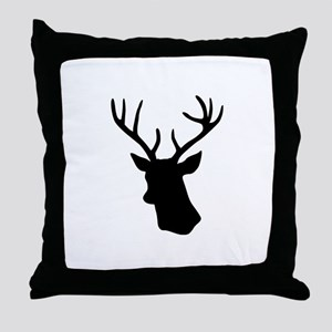 Black stag deer head Throw Pillow