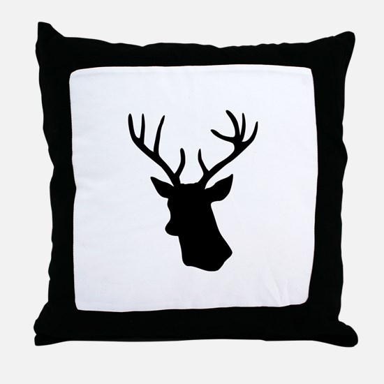 Black stag deer head Throw Pillow