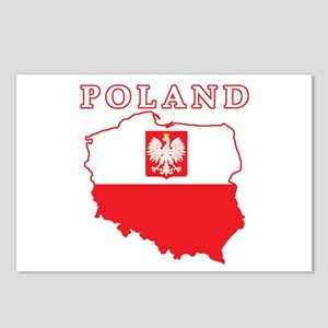 Poland Map With Eagle Postcards (Package of 8)