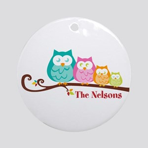 Custom owl family Ornament (Round)