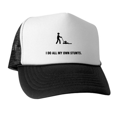 Lawn Mowing Trucker Hat by StickManStunts 140dec4db516