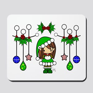 Cute Christmas Elf Girl Dressed in Green Mousepad