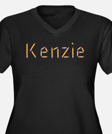 Kenzie Pencils Women's Plus Size V-Neck Dark T-Shi