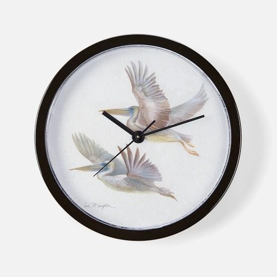 Pelicans in flight Wall Clock