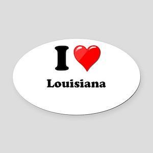 I Heart Love Louisiana Oval Car Magnet