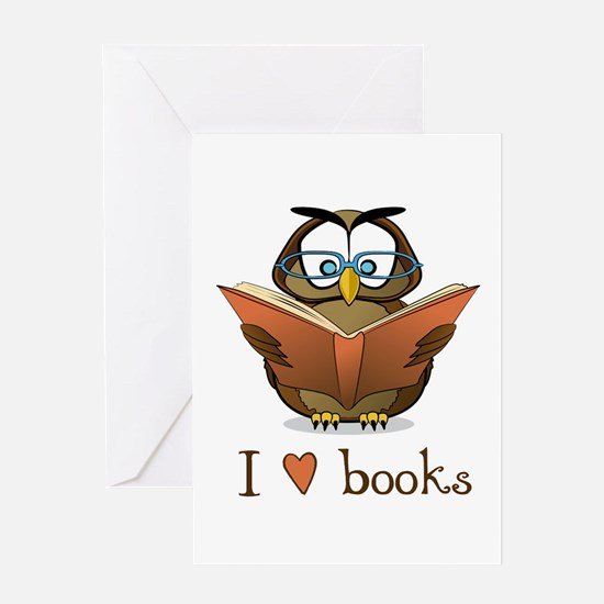 Book Owl I Love Books Greeting Card