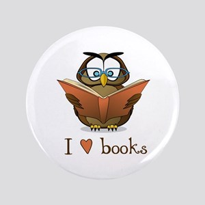 """Book Owl I Love Books 3.5"""" Button"""