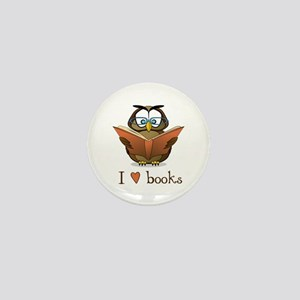 Book Owl I Love Books Mini Button (10 pack)