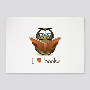 Book Owl I Love Books 5'x7'Area Rug