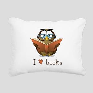 Book Owl I Love Books Rectangular Canvas Pillow