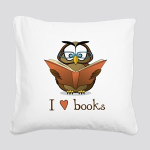Book Owl I Love Books Square Canvas Pillow