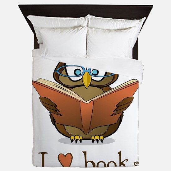Book Owl I Love Books Queen Duvet