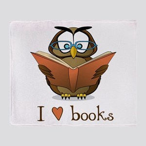 Book Owl I Love Books Throw Blanket