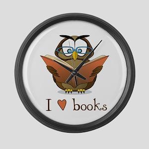 Book Owl I Love Books Large Wall Clock
