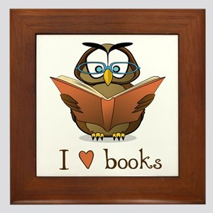 Book Owl I Love Books Framed Tile