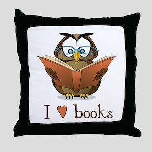 Book Owl I Love Books Throw Pillow