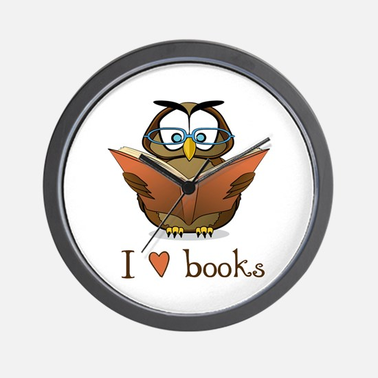 Book Owl I Love Books Wall Clock