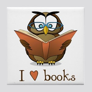 Book Owl I Love Books Tile Coaster