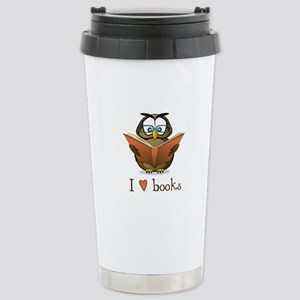 Book Owl I Love Books Stainless Steel Travel Mug