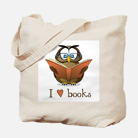 Book Owl I Love Books Tote Bag