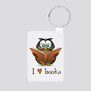 Book Owl I Love Books Aluminum Photo Keychain