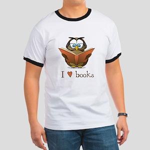 Book Owl I Love Books Ringer T