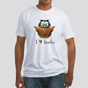 Book Owl I Love Books Fitted T-Shirt