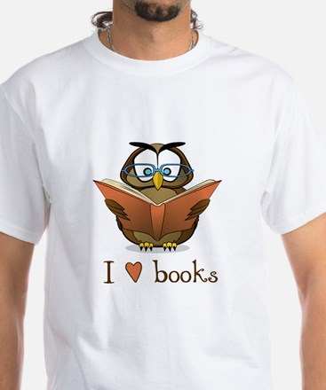 Book Owl I Love Books White T-Shirt