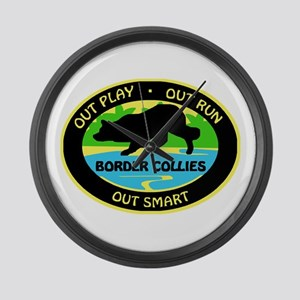 Border Collie Out Play Large Wall Clock