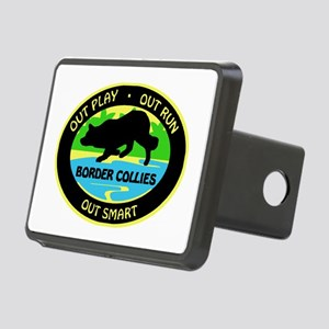 Border Collie Out Play Rectangular Hitch Cover