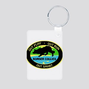 Border Collie Out Play Aluminum Photo Keychain