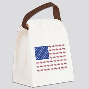 American Flag Made of Snowmobiles Canvas Lunch Bag