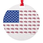 American Flag Made of Snowmobiles Round Ornament