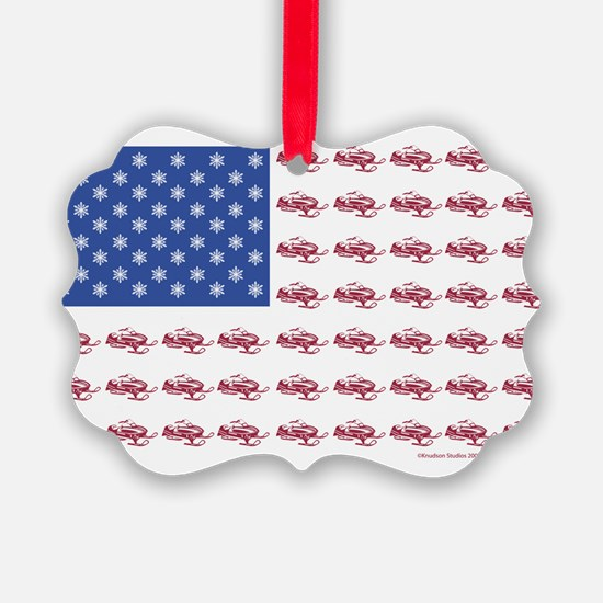 American Flag Made of Snowmobiles Ornament