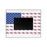 American Flag made up of Snowmobiles Picture Frame
