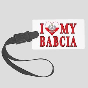 I Heart My Babcia Large Luggage Tag